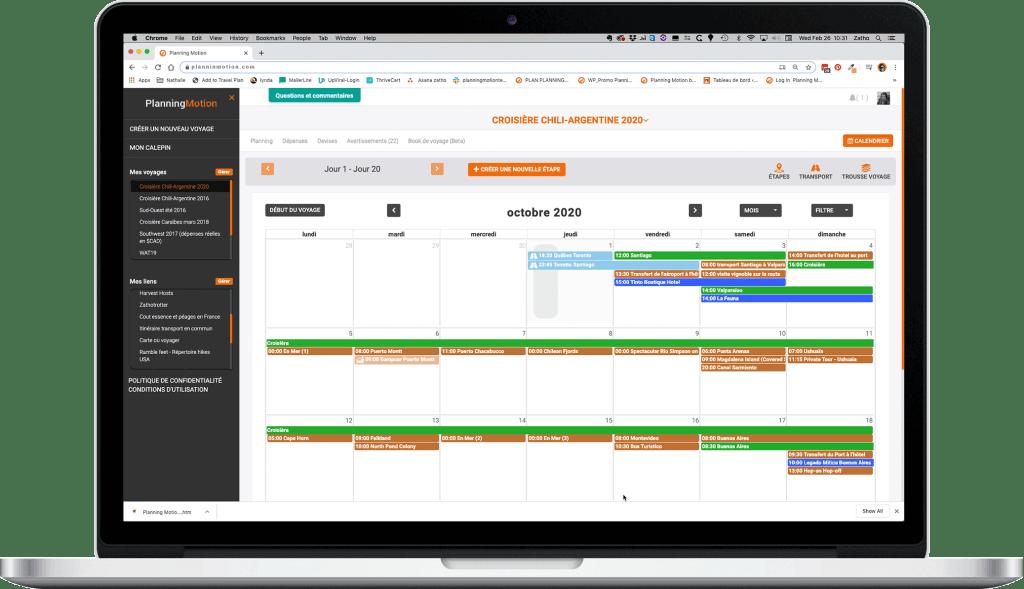 Le calendrier interactif du planificateur de voyages Planning Motion dans l'écran d'un ordinateur portable